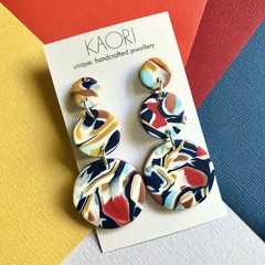 Polymer clay earrings, statement earrings in blue, yellow, red and white