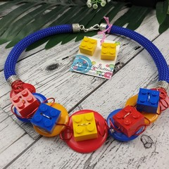 Lego Brick and Button Fusion Necklace - Button Jewellery - Earrings