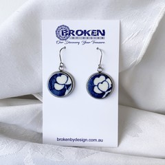 Blue and White Heart Patterned  Earrings