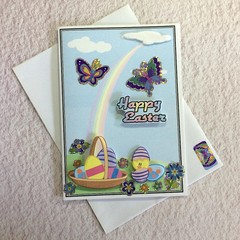 'Cute Chick Hatching' Easter Card with Purple Butterflies