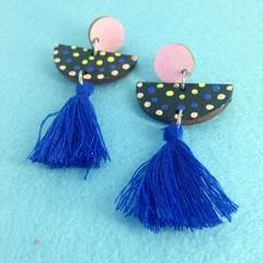 Triple layer handpainted & tassel earrings