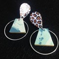 Animal print & blue/white marbled printed earrings