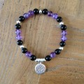 Amethyst, Onyx and Recycled Silver Bracelet