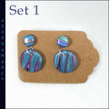 Polymer clay earrings - round dangly ones
