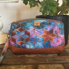 Clematis Clutch -Tan/Blue/Pink Geo