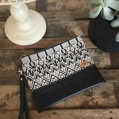 Flat Clutch - Black & White Aztec Weave