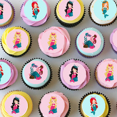 Mermaid Mini Edible Icing Cupcake Toppers - Pre-cut Sheet of 30 - EI011MC