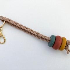 Texture Key Chain / Bag Strap / Keyring (Sage + Terracotta + Mustard)