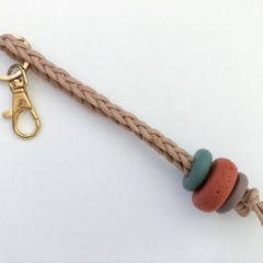 Texture Key Chain / Bag Strap / Keyring (Sage + Terracotta + Mushroom)