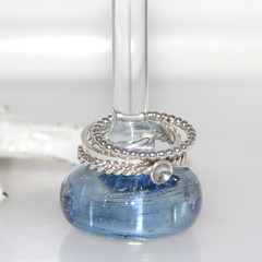 Sparkly Transparent BlueGlass Ring Stand