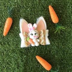 Hair Bow- With Clay Centre Piece Bunny