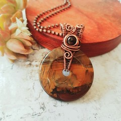 Tigers eye donut statement pendant necklace jewellery copper wire wrapped