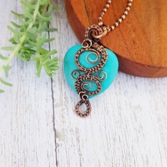 Turquoise magnesite heart statement pendant necklace jewellery natural copper