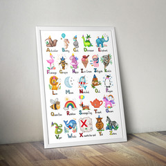 Kids Alphabet Poster, Animals, Make Believe Magic and Rainbows! A2 and A3 sizes