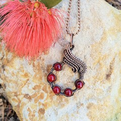 Red coloured agate statement pendant necklace and glasses chain jewellery