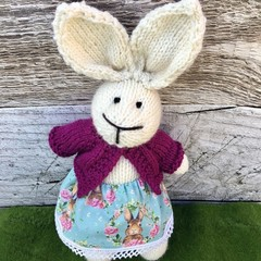 Eloise the Knitted Bunny Rabbit Toy with Pink Cardigan and Bunny Skirt