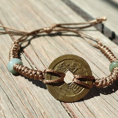 FENG SHUI Luck Bracelet-Jade Stone Bracelet-Cord Bracelet-Boho Hippie Style-Nat