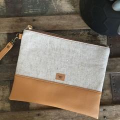 Flat Clutch - Natural Linen