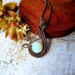 Moonstone pendant necklace jewellery natural copper wire wrapped