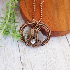 Copper Wire wrapped moss agate donut necklace pendant - copper anniversary gift