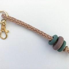 Texture Key Chain / Bag Strap / Keyring (Sage + Mushroom)