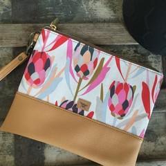 Flat Clutch - Pink Protea