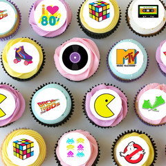 Eighties 80's Mini Edible Icing Cupcake Toppers - Pre-cut Sheet of 30 - EI005MC
