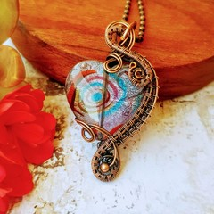Copper Wire wrapped heart necklace pendant with millefiori bead - valentine