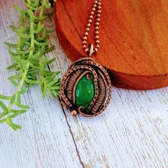 Green onyx wire wrapped pendant necklace