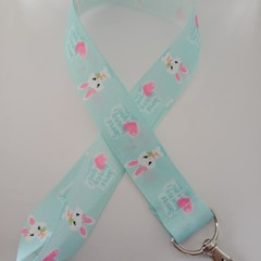 Blue Easter bunny with heart lanyard / ID holder / badge holder