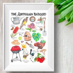 Australian Backyard Print, Kids Wildlife Resource
