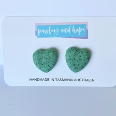 Speckled hearts polymer clay statement studs
