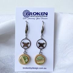 Green Vintage Butterfly Earrings