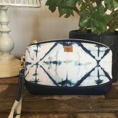 Clematis Clutch -Cream/ Blue Shibori Print