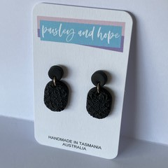Black patterned polymer clay dangles