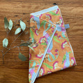 burp cloth - galahs orange / organic cotton hemp fleecy / baby toddler