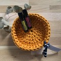 Crochet basket | essential oils | home decor | storage basket | MUSTARD YELLOW