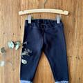 Winter leggings - black / organic cotton hemp fleecy pants / 1 - 3 years