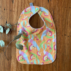 bib - orange galahs / eco friendly / organic cotton hemp / baby toddler