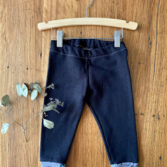 Winter leggings - black / organic cotton hemp fleecy pants / 1 - 3 years