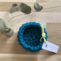 Crochet basket | essential oils | home decor | storage basket | TEAL BLUE GREEN