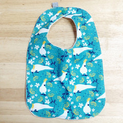 bib - green cockatoo / eco friendly / organic cotton hemp fleece / baby toddler