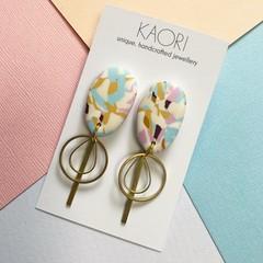 Polymer clay earrings, statement earrings in pastel white
