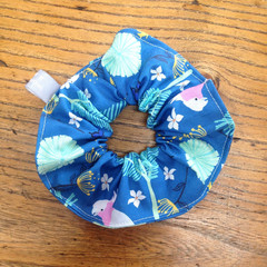 scrunchie - teal cockatoos and galahs / Australian birds / aqua pink grey white