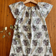 dress - koala / eco friendly organic cotton / cream grey green / 1-9 years