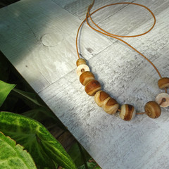 Necklace - Timber dreaming. N-307W - Hand-carved wood and pottery