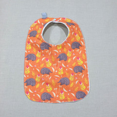 bib - orange echidna / eco friendly / organic cotton hemp fleece / baby toddler