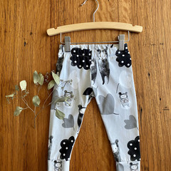leggings - monochrome bears / girl unisex toddler child boy / organic cotton