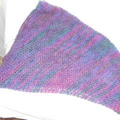 Shawl/Scarf/Cowl in Dark Blue Purple and Jade