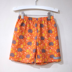 shorts - orange echidna / cotton / sizes 6-12 months - 12 years